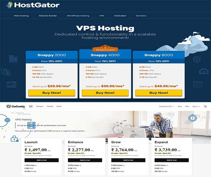 Comparison of Godaddy's and Hostgator's VPS Web hosting