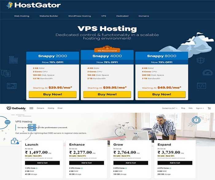 Comparison of Godaddy's and Hostgator's VPS Web hosting
