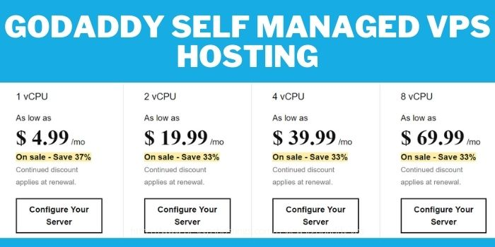 GoDaddy VPS Hosting review- Self Managed VPS Hosting Plan